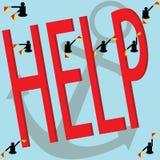 帮助动臂信号机旗子和文本 库存图片
