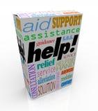 帮助在产品箱子用户支持的协助词 库存照片