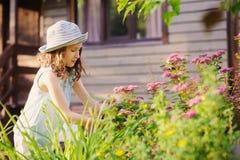 帮助小花匠儿童的女孩整理和被切开的spirea灌木 免版税图库摄影