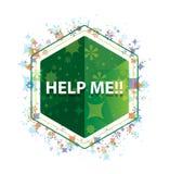 帮助我!花卉植物仿造绿色六角形按钮 向量例证