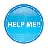 帮助我!花卉蓝色圆的按钮 向量例证