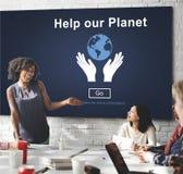 帮助我们的行星环境保护支持概念 免版税图库摄影
