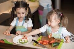 帮助母亲的逗人喜爱的孩子在厨房 做与菜的可爱的姐妹滑稽的面孔在板材 库存照片