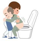 帮助洗手间的照料者 库存例证