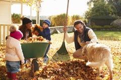 帮助父母的孩子收集秋叶在庭院里 免版税图库摄影