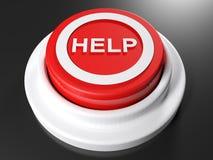 帮助的- 3D红色按钮翻译 免版税图库摄影