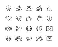 帮助线象 支持医疗保健,手工常见问题解答指南,家庭生活关心社区慈善捐赠 帮助和支持集合 库存例证