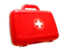 帮助袋子第一个工具箱红色 免版税库存照片