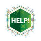 帮助!花卉植物仿造绿色六角形按钮 向量例证