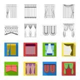 帷幕、棍子、檐口和其他网象在概述,平的样式 弓,织品,在集合汇集的薄纱象 图库摄影