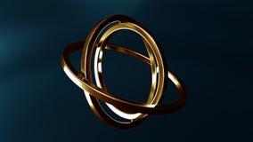 常平架由金子制成 平衡或运动概念 Loopable动画 皇族释放例证