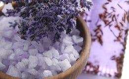 常春藤淡紫色肥皂温泉毛巾 图库摄影