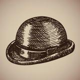 常礼帽板刻 减速火箭的衣物开始了20世纪 免版税图库摄影