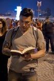 常设人抗议在伊斯坦布尔-土耳其 免版税库存照片