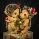 常设木偶棕色猬用苹果 免版税库存图片