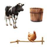 常设母牛,老木桶,红色鸡 免版税库存图片