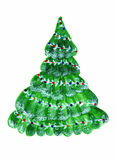 常青圣诞树水彩 免版税库存图片