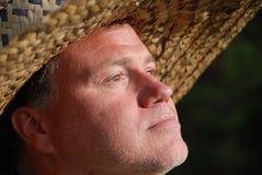 帽子人秸杆佩带 免版税库存照片