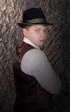 帽子人纵向年轻人 免版税图库摄影