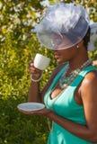 帽子和下午茶 免版税库存照片