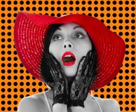 帽子嘴唇固定妇女的红色 库存图片