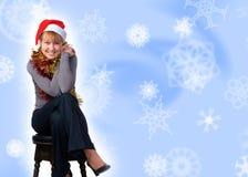 帽子圣诞老人佩带的妇女 免版税库存图片