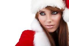 帽子圣诞老人佩带的妇女 图库摄影