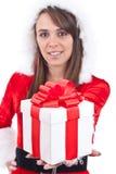 帽子圣诞老人性感的妇女 图库摄影