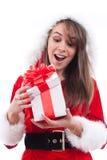 帽子圣诞老人性感的妇女 库存照片