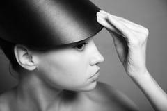 帽子夫人年轻人 免版税图库摄影