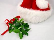 帽子槲寄生圣诞老人 库存照片