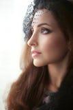 帽子的典雅的深色的妇女有看窗口,教授的面纱的 免版税库存照片