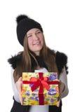 帽子的女孩有礼物的 库存照片
