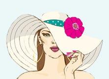 帽子的女孩 也corel凹道例证向量 免版税库存图片