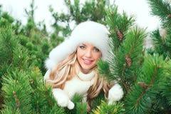 帽子的妇女,手套,围巾,毛线衣,毛皮在冬天冷杉森林里 免版税图库摄影