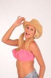 帽子的性感的金发碧眼的女人 免版税库存图片