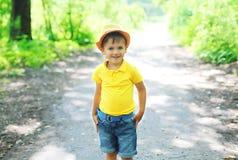 帽子的愉快的小男孩孩子走在夏天的 免版税库存照片