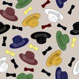 从帽子的无缝的样式 免版税库存照片