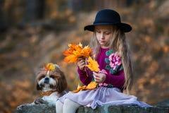帽子的甜女孩编织秋天槭树叶子花圈  免版税库存图片