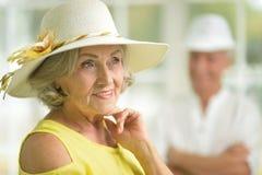 帽子的Sinior妇女 免版税图库摄影
