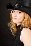 帽子红头发人性感的妇女 免版税图库摄影