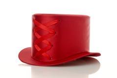帽子红色丝带 免版税库存照片
