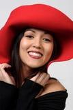 帽子红色妇女 免版税库存图片