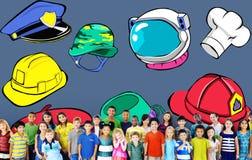 帽子职业梦想工作目标专门技术概念 免版税库存图片