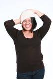 帽子讲西班牙语的美国人妇女 免版税库存图片