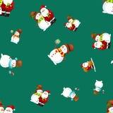 帽子雪人的圣诞快乐和新年快乐朋友圣诞老人在围巾庆祝xmas,从雪花的降雪 库存照片