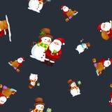 帽子雪人的圣诞快乐和新年快乐朋友圣诞老人在围巾庆祝xmas,从雪花的降雪 免版税库存照片