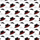 帽子,单片眼镜,髭无缝的样式 背景为父亲节 免版税库存照片