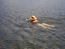 帽子staw游泳者 免版税库存照片
