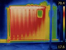 幅射器加热器上升暖流图象 库存图片